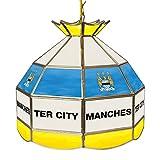 Trademark Gameroom Premier League Manchester City 16-Inch Handmade Tiffany Style Lamp