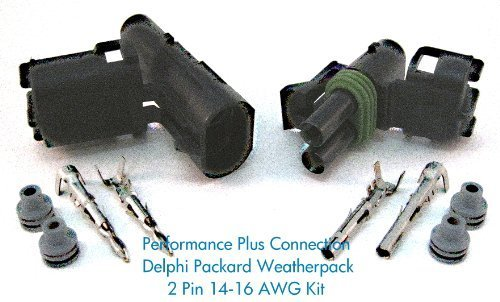 Delphi Packard Weatherpack 2 Pin Terminal Kit 16-14 AWG