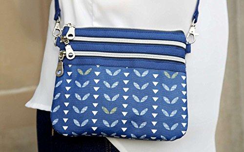 by Squared Handbag Fair Trade Leaf Oilcloth Pouch Bag Earth Navy qxTK6X