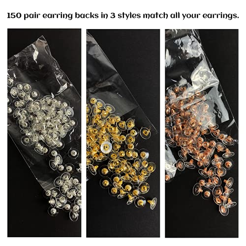 MUXGOA 150 Pair Earring Backs.3 Different Colors Bullet Clutch Earring Backs for Droopy Ears Jewelry Making Supplies(Silver & Gold & Rose Gold)