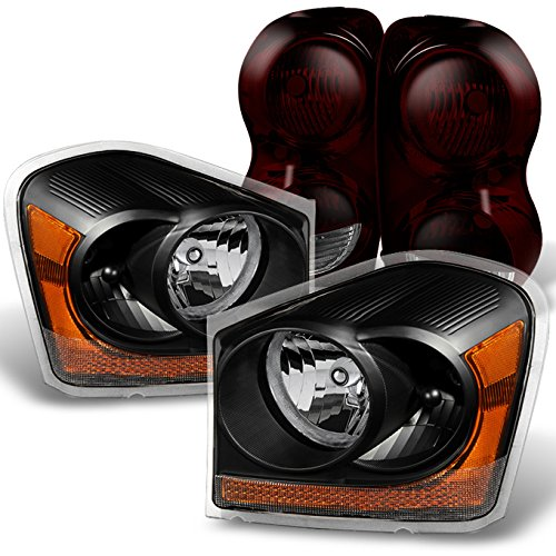 For Dodge Durango Black Headlights + Dark Red Tail Lights Driver Left & Passenger Right Replacement Pair