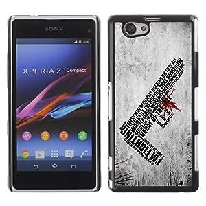 Paccase / SLIM PC / Aliminium Casa Carcasa Funda Case Cover para - I'm Fighting Deep Message - Sony Xperia Z1 Compact D5503