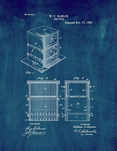 Bee Hive Patent Print Art Poster Midnight Blue (8.5