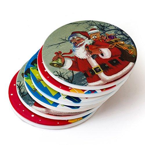 Sunbright Christmas Coaster for Drinks,Santa,Snowman,Christmas Tree Decoration,Porcelain with Cork Bottom,Set of 6