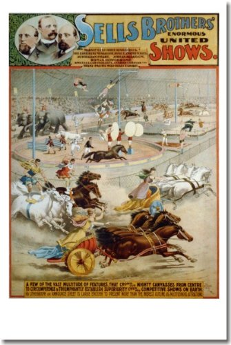 Sells Brothers Enormous United Shows - New 1880's Vintage Reproduction Circus Poster