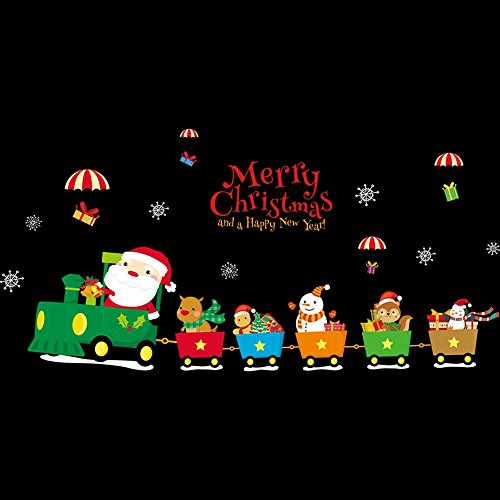 Mlide Merry Christmas Wall Paper,Xmas Background Wall Decoration Removable Wall Stickers (Multicolor,45 x60cm)