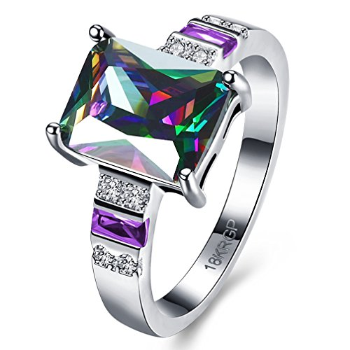 Womens Best Friend Rings White Gold Plated Radiant Cut Colorful Cubic Zirconia Engagement Wedding Promise Rings for Her Fashion Jewelry Christmas Gifts Size 7 from SAINTHERO