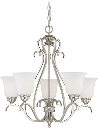 Vaxcel H0153 Hartford 5 Light Chandelier, 25 x 25 x 24.5 , Satin Nickel Finish