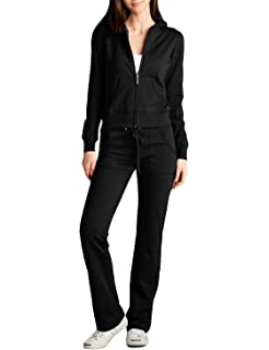 NE PEOPLE 2-Set Womens Casual Basic Terry Zip Up Hoodie Sweatsuit Tracksuit Set