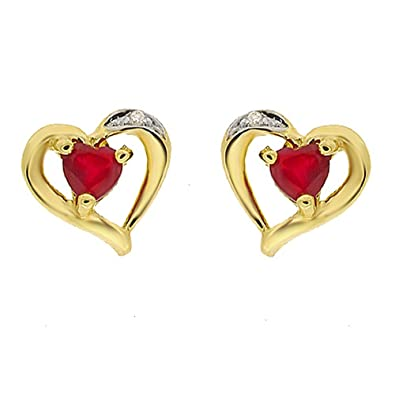 Ivy Gems 9ct Yellow Gold Ruby and Diamond Heart Stud Earrings