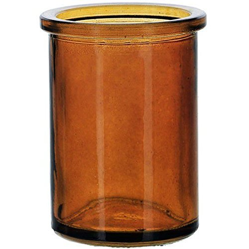 (Bluecorn Beeswax 50% Recycled Glass Candle Holder (2¼-Inch Interior Diameter x 3¾-Inch Tall) (Dark Amber))