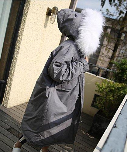 Hooded light Oversized Jacket Feathers Hair Warm Cotton Xuanku Collar Long Winter Super Grey Jacket Long Down Jacket gIqxZp