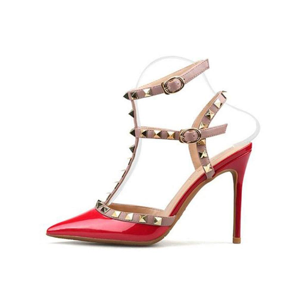 - shoes Women's high Heels, Patent Leather Hollow Rivets Sandals Pointed Stiletto high Heels Women