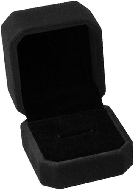 JUNGEN® Estuche de joyería de Franela, Organizador de Joyerías, Caja Octogonal para Anillo Pendiente (Negro): Amazon.es: Hogar