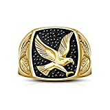 14K Yellow Gold Plated Round Cut Black CZ Diamond Men's Flying Eagle Ring