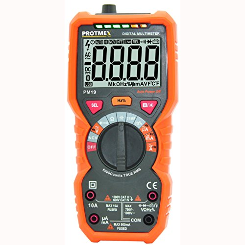 Digital Multimeter, Protmex PM19 Auto Range Electronic Measuring Instrument 6000 Counts True RMS DMM Tester Non Contact AC Voltage Detection Amp Ohm Volt Multi Meter Temperature, with LCD Backlit