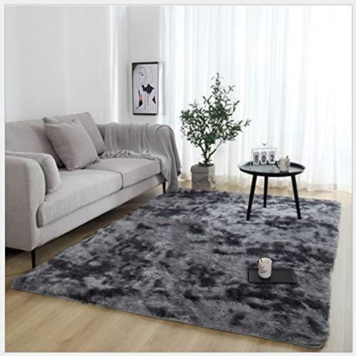 RUNYA Alfombra de salón grande de piel sintética suave de piel de oveja, alfombra moderna Shaggy (gris oscuro, 160 x 230…