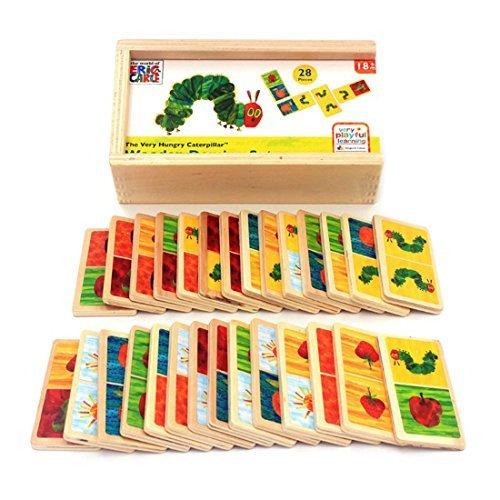 Kids Montessori木製おもちゃ28個漫画動物Dominoブロック木製クラシックデスクトップDominoes Game Kidsブロック教育玩具