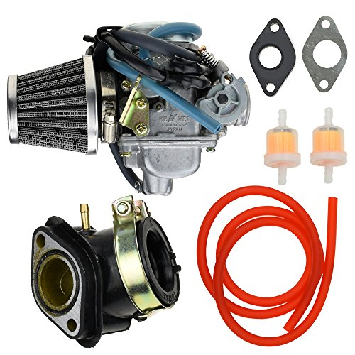 (24mm Carburetor Carb 42mm Air Filter Intake Manifold Gasket Fuel line Filter for GY6 Yerfdog Spiderbox GX150 Manco Hammerhead GTS Twister Tomerlin Crossfire 150cc Go Kart Roketa Moped Scooter Parts)