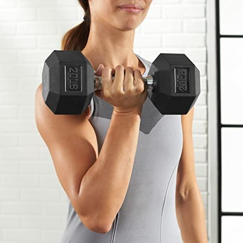 Amazon Basics Rubber Encased Hex Hand 15lbs Dumbbell Weight