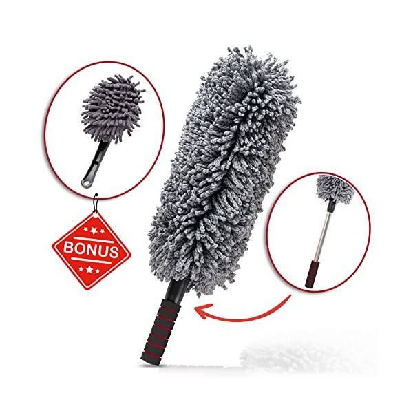 Car And Home Duster, 2 Piece Premium Exterior And Interior Vehicle Microfiber, Lint Free, Wax Free Cleaning Brushes With Zippered Case: Kit By AUTOZIV