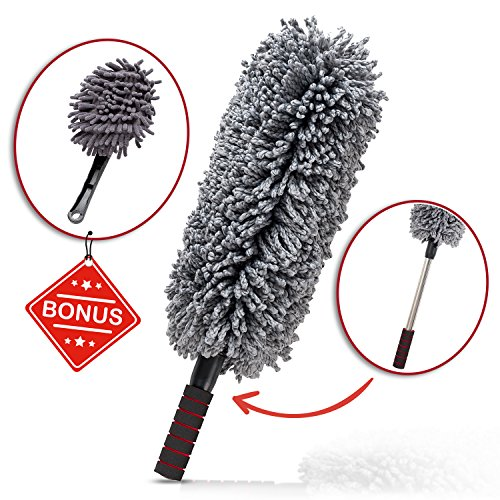 Car and Home Duster, 2 Piece Premium Exterior and Interior Vehicle Microfiber, Lint Free, Wax Free Cleaning Brushes with Zippered Case : Kit by Z&O (Z Best Leather Cleaner)