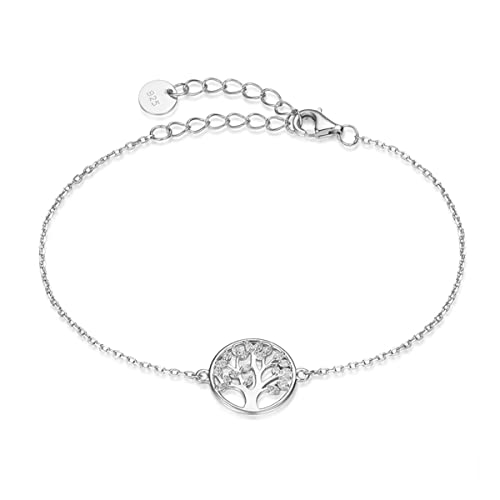 9285f5193 Amazon.com: 925 Sterling Silver Tree of Life bracelet Full Cubic Zirconia Family  Tree meaningful Gifts for Women: Jewelry