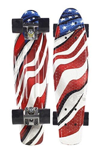 Flag Skateboard Deck - Plastic Retro Skateboard 22'' Cruiser for Kids Youth Beginners PU Wheels (American Flag)