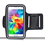 AiGoo Reflective Sports Armband Case for Samsung Galaxy S3 S4 S5 and HTC One M7, Easy Fitting [Sport Gym Bike Cycle Jogging Running Walking] Protective Sports Band Case[Lifetime Warranty]- Sweat Resistant, Washable, Breathable Padding, Key Holder, Light Weight & Adjustable - For Men and Women Black