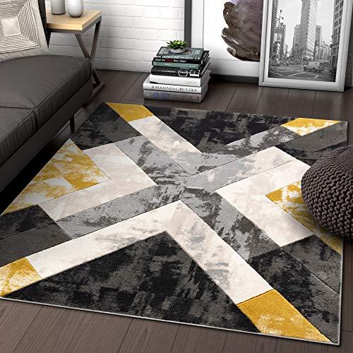 Well Woven Rheta Gold Modern Geometric Stripes & Angles Pattern Area Rug 5x7 (5'3