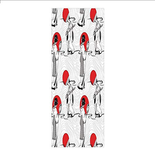 3D Decorative Film Privacy Window Film No Glue,Asian,Japanese Geisha Girl with Traditional Kimono Folk Culture Style Modern Artful Image,Red Black,for Home&Office]()