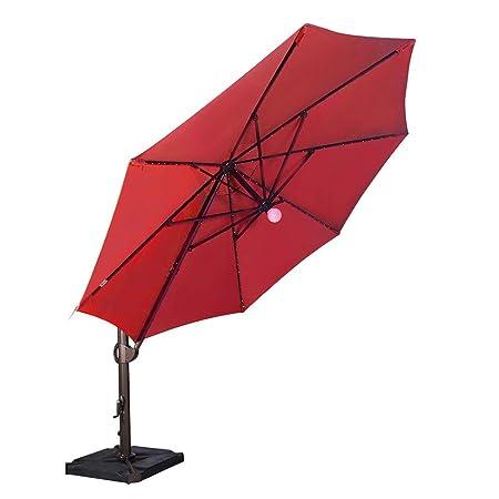 SORARA 11.5 Feet Offset Cantilever Umbrella Round Outdoor Patio Hanging Umbrella with Center Light, Cross Base 4 pcs Base Weight and Umbrella Cover, Henna