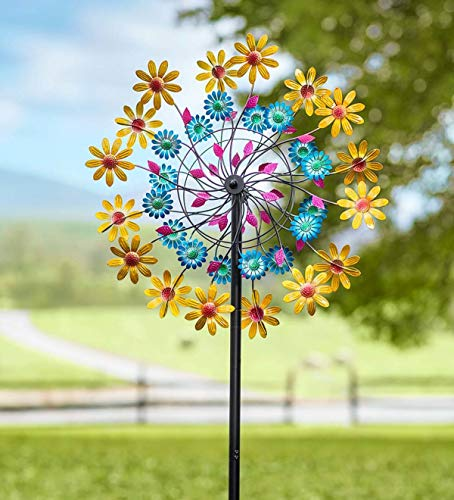 Plow & Hearth Yellow Daisy Metal Wind Spinner - 24 Dia x 10 D x 84 H
