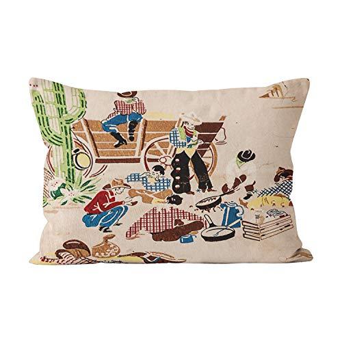 Gygarden Beauty Cowboys Vintage Wallpaper Wild West Hidden Zipper Home Decorative Rectangle Throw Pillow Cover Cushion Case Boudoir 12x20 Inch One Side Design Printed Pillowcase ()