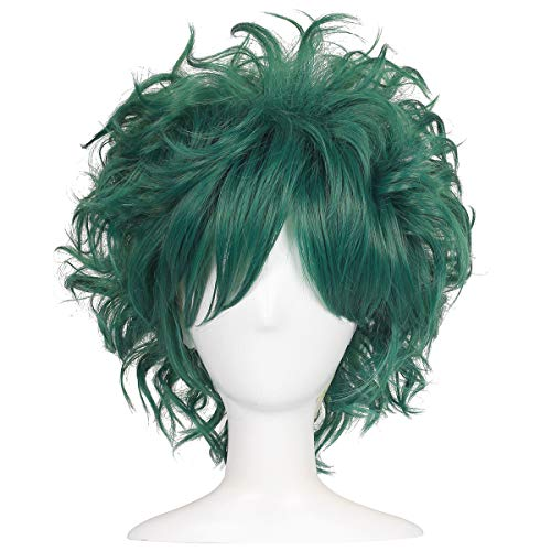ColorGround All Green Short Curly Prestyled Natural Cosplay Wig for Men and Women (All Dark Green)