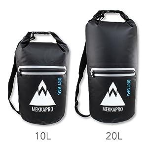 Premium Waterproof Dry Bag Sack with Zip Pocket and Shoulder Strap by MEKKAPRO (Black, 20L)