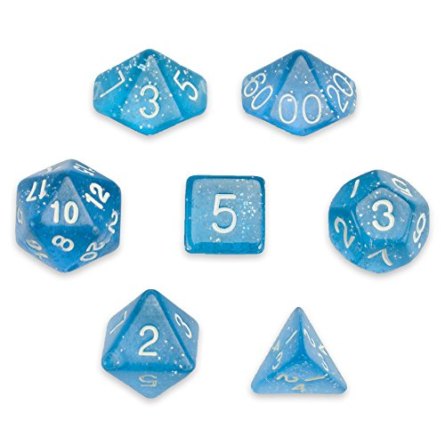 - 7 Die Polyhedral Dice Set - Diamond Dust (Blue Glitter) with Velvet Pouch by Wiz Dice