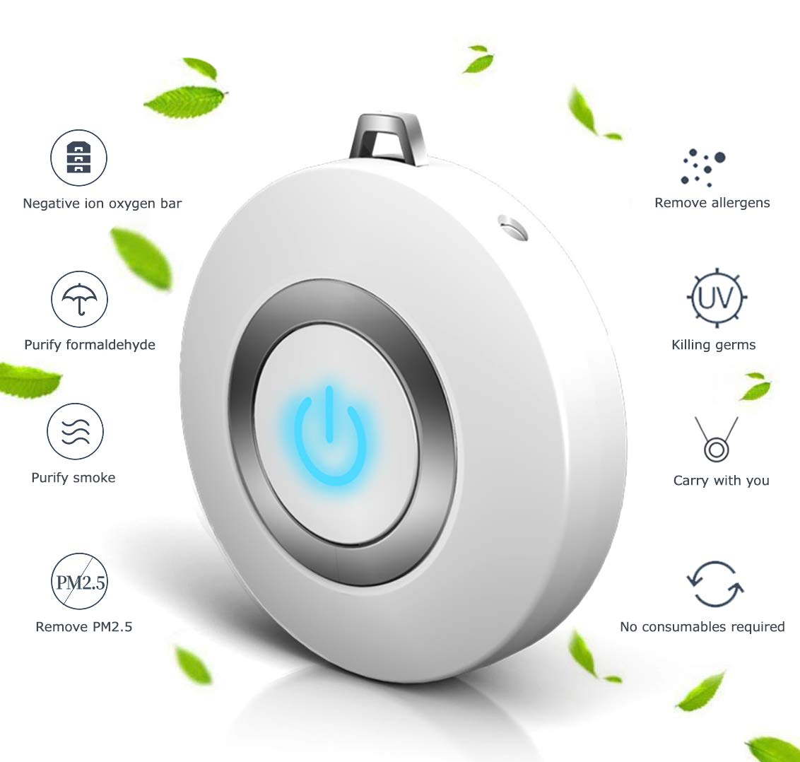 Eva zzy USB Portable Wearable Air Purifier, Personal Mini Air Necklace Negative Ion Air Freshener – No Radiation Low Noise for Adults Kids White