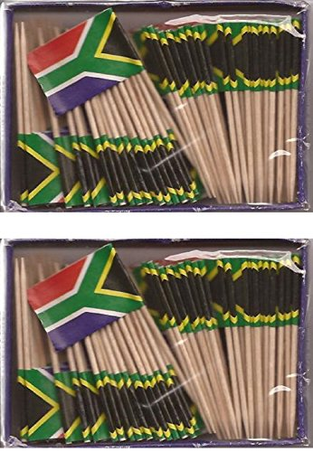 2 Boxes of Mini South Africa Toothpick Flags, 200 Small South African Flag Toothpicks or Cocktail Sticks & Picks