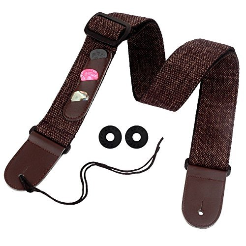 ZETOM Guitar Strap, Soft Cotton-ramie Woven Adjustable Guitar Strap with Buildin 3 Pick Pockets for Electric/Acoustic Guitar and Bass (Dark Brown)