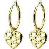 Tutti Frutti Gold Tone Hollow Heart Earrings