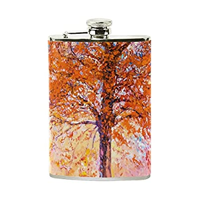 SWQYL Stainless Steel Liquor Portable Hip Flask Wine Pot Oil Painting Red Tree Camping Alcohol Container Bottle Pocket Flagon for Adults