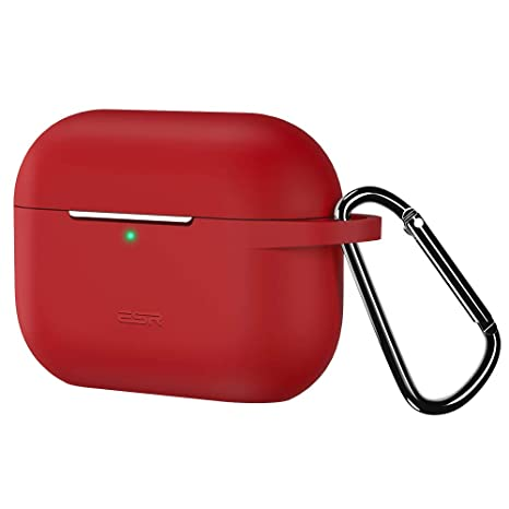 Visible Front LED ESR Protective Cover for AirPods Pro Case Bounce Series Carrying Case with Keychain for AirPods Pro Wireless Charging Case 2019 Shock-Absorbing Soft Slim Silicone Case Skin Red