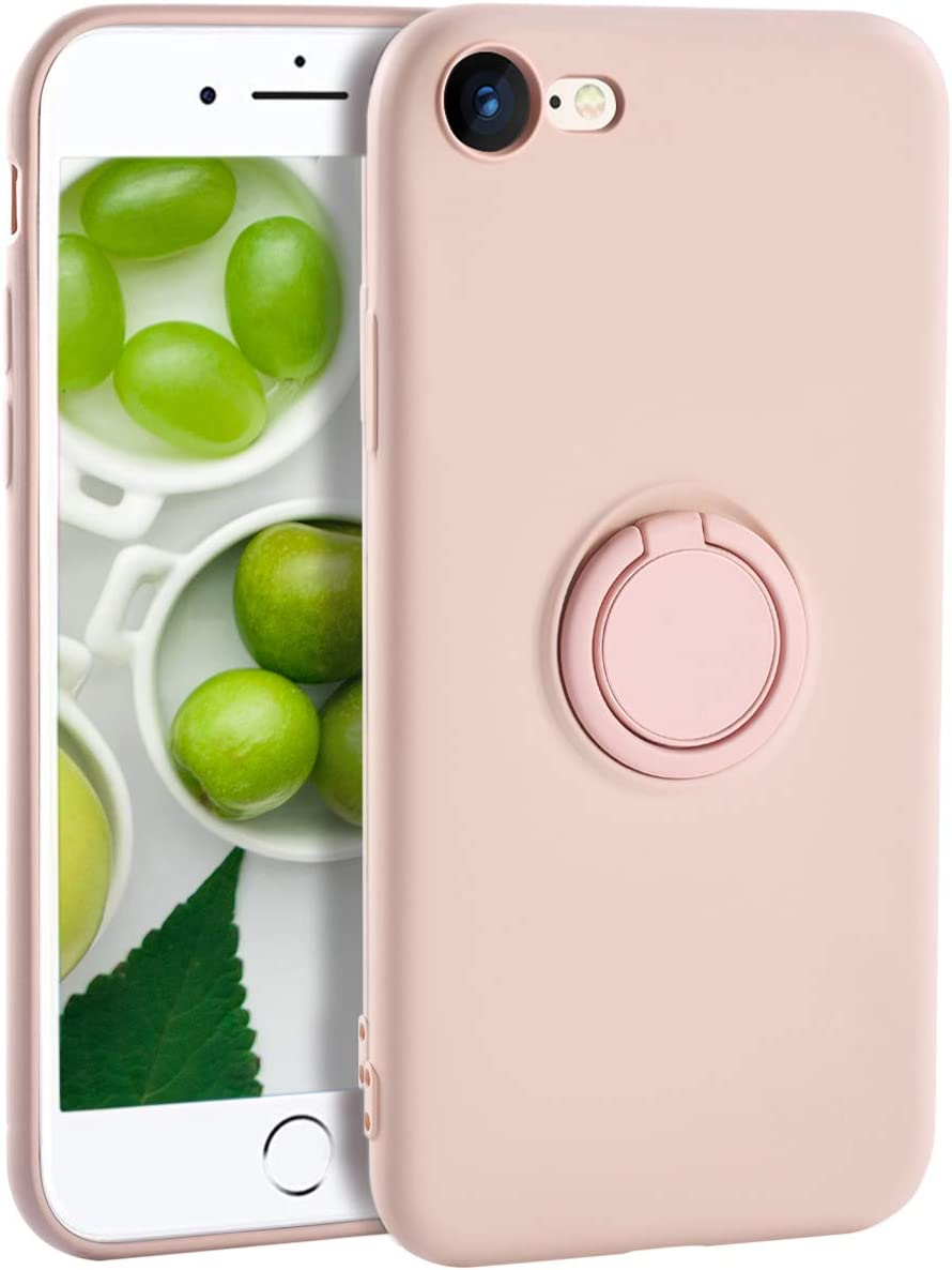 iPhone 7 Case Silicone,Yoopake iPhone 8 Cases for Women Liquid Silicone Case with Ring Stand Holder Support Magnetic Car Mount Soft Slim Protective Phone Cover Case for iPhone 8 7,Pink