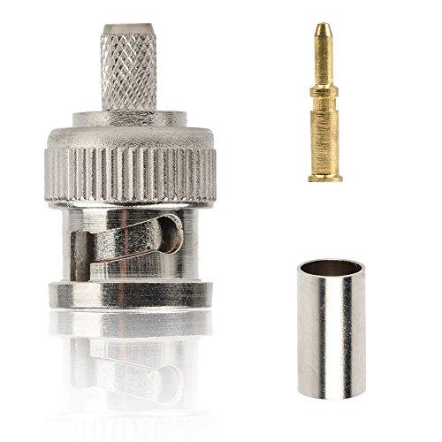10pcs BNC Plug Crimp Connectors for RG58 RG-58 RG400 LMR195 Coax Male
