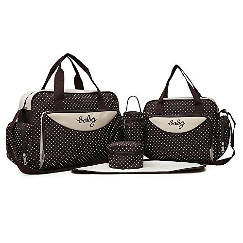 (5pcs set) Multifunction Baby Diaper Bag Backpack Mommy bag, Large Capacity Mommy Nappy Bag for Women Toddler Newborn, Perfect Mother's Day Gifts (Brown)