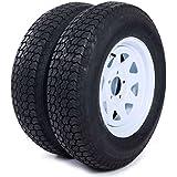 """AutoForever 2pcs Trailer Tires & Rims ST205/75D15 F78-15 205/75-15 15"""" 5 Lug 4.5"""" Wheel White Spoke"""