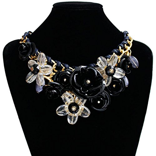 WuyiMC Weave Necklaces, Women's Rose Necklace Big Flower Crystal Flower Choker Statement Necklace (Black) (Black Weave Necklace)
