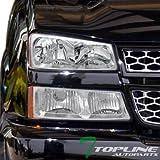 04 silverado headlight assembly - Topline Autopart Crystal Chrome Head Lights Headlights Lamps w/ Bumper Signal Blinkers Amber DY 03-06 Chevy Silverado