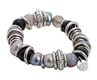 Purple Lotus Jewelry Stretchy Bracelet with Grey and Black Baroque Pearl and Stainless Steel Rings